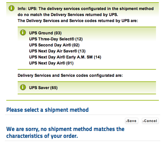 UPS infos displayed when no delivery services are avaiable