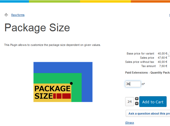 package size product frontend