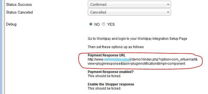 Worldpay HTML Payment response url