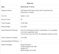 Ups rates : view of the order in the backend